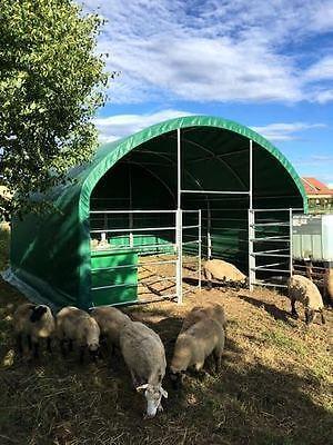 Unterstand Weidezelt Überdachung Weidehütte Außenklimastall 6x6x3,7m 650g PVC