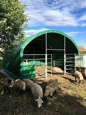 Offenstall Weidezelt Überdachung Weidehütte Außenklimastall 6x6x3,7m 650g PVC